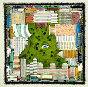 """Grafik """"Der traurige Park"""" von Jutta Stern"""