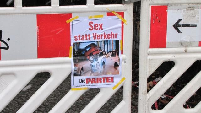 """""""Sex statt Verkehr""""  erst morgen, Sonnabend"""