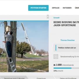 Online-Petition gegen Rodungen im Jahnsportpark